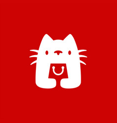 White cat hold shopping bag shop store logo icon vector