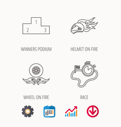 Winner podium race timer and wheel on fire vector