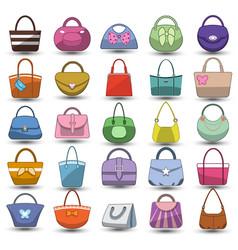 Women handbag flat icon set colorful handle bag vector