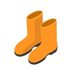 Yellow rubber boots icon isometric 3d style vector