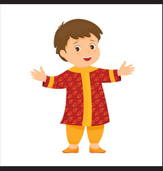 cartoon little indian boy in national clothes vector image vector image