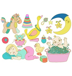 Children set with toys and baby vector image vector image