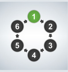 circle diagram with six elements infographic vector image