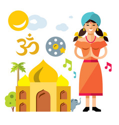 india travel concept flat style colorful vector image