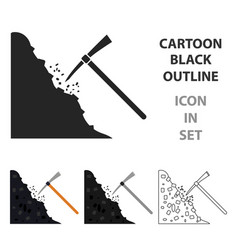 pickaxe icon in cartoon style isolated on white vector image