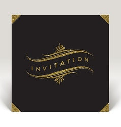 Template invitation with glitter gold flourishes vector image