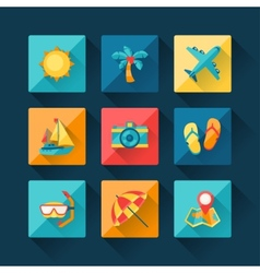 Travel and tourism icon set in flat design style vector image
