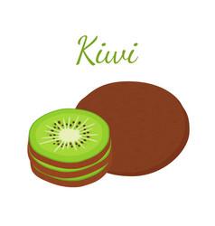 tropical fruit exotic kiwi flat style vector image vector image