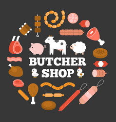 butcher shop headline and product icon vector image vector image