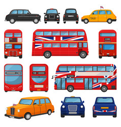 london car british cab taxi and uk red bus vector image
