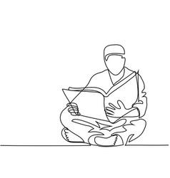 man in fez reading koran vector image