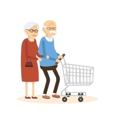 Old Man and Woman with Shopping Cart vector image vector image