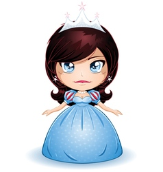 Princess with black hair in blue dress vector