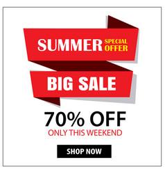 summer sale ribbon and sticker banner vintage vector image vector image