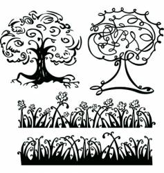 tree sketches vector image