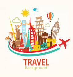 World travel landmarks silhouettes icons set vector