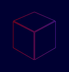 cube sign line icon with vector image