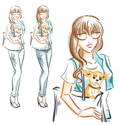 Fashion girl with little dog chihuahua vector image vector image
