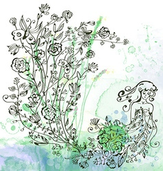 Graphic card with girl and floral - background for vector image vector image