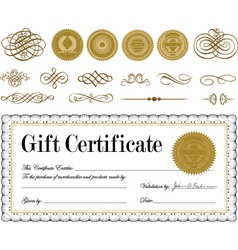 vector gold frame border and seal set vector image