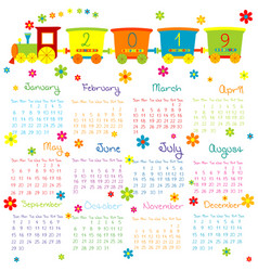 2019 calendar with toy train and flowers for kids vector image