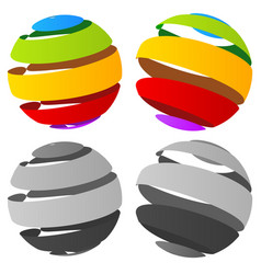 3d abstract striped sphere in four version vector