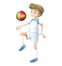 A young man using the ball with the flag of Sri vector