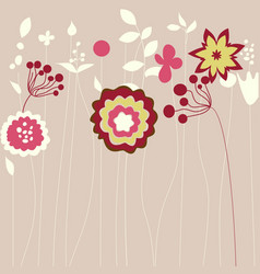 Abstract flowers greeting card vector