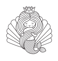 Adorable little princess mermaid holding her long vector