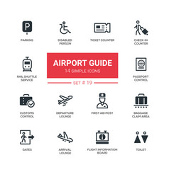 Airport guide - modern simple icons pictograms vector