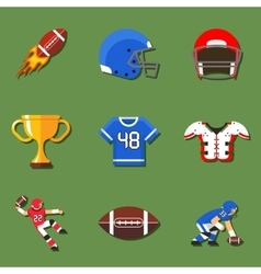 American football flat icons set vector image