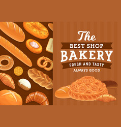 Bakery pastry and bread poster vector