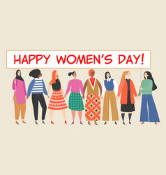 banner with a group women holding a big placard vector image