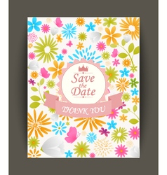 Beautiful vintage flowers invitation vector image
