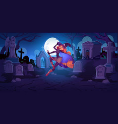 Beautiful witch on broom on cemetery at night vector