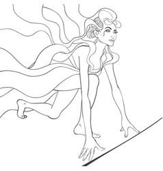 Black and white of girl runner vector