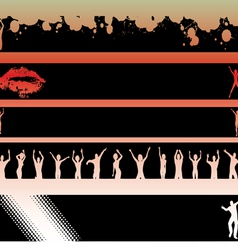 Black Strips Dancers and Lips vector image