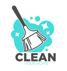 broomstick and soap cleaning tool isolated icon vector image