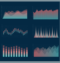 business chart collection set of graphs vector image