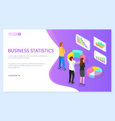 business statistics website template isometric vector image