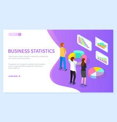 business statistics website template isometric vector image