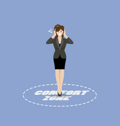 Business woman standing in comfort zone vector