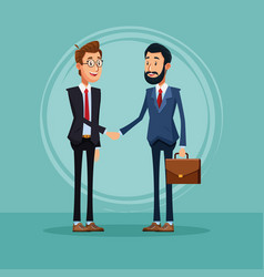 Businessmen talking about business cartoon vector