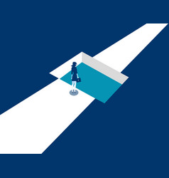 businesswoman standing shaped hole in road vector image