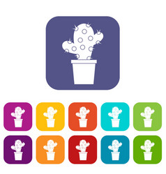 cactus icons set flat vector image