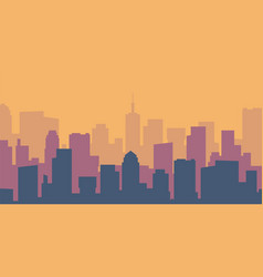 Cartoon cityscape empty flat city silhouette vector