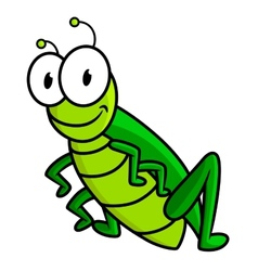 Cartoon funny green grasshopper character vector image