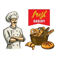 chef and bakery vector image