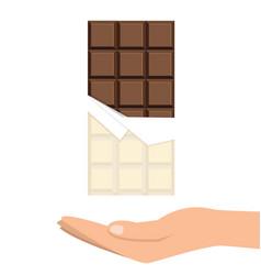 Chocolate bar with hand minimal flat design vector