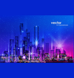 City skyline night cityscape with illuminated vector